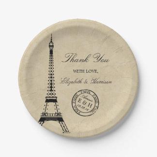 Vintage Eiffel Tower Paris Postmark Wedding 7 Inch Paper Plate
