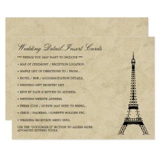 Vintage Eiffel Tower Paris Postmark Wedding Detail 11 Cm X 16 Cm Invitation Card