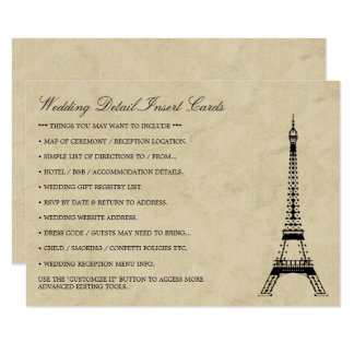 Vintage Eiffel Tower Paris Postmark Wedding Detail Card