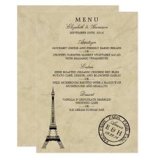 Vintage Eiffel Tower Paris Postmark Wedding Menu 11 Cm X 16 Cm Invitation Card