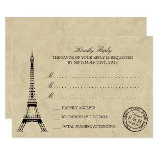 Vintage Eiffel Tower Paris Postmark Wedding RSVP Card