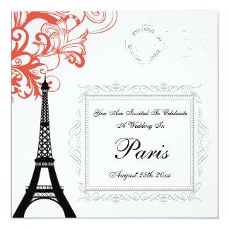 Vintage Eiffel Tower Wedding In Paris 13 Cm X 13 Cm Square Invitation Card