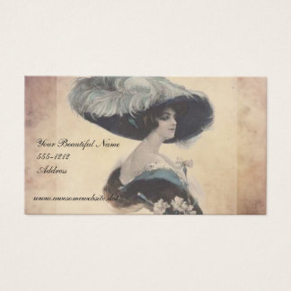 Vintage Elegant Lady in Feather Hat Business Cards