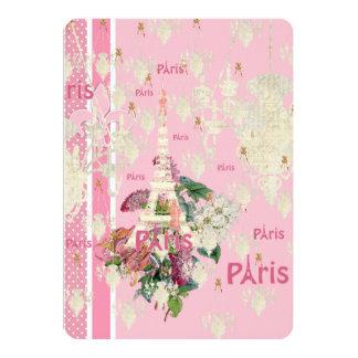 Vintage Elegant Pink Paris Eiffel Tower Chandelier 13 Cm X 18 Cm Invitation Card