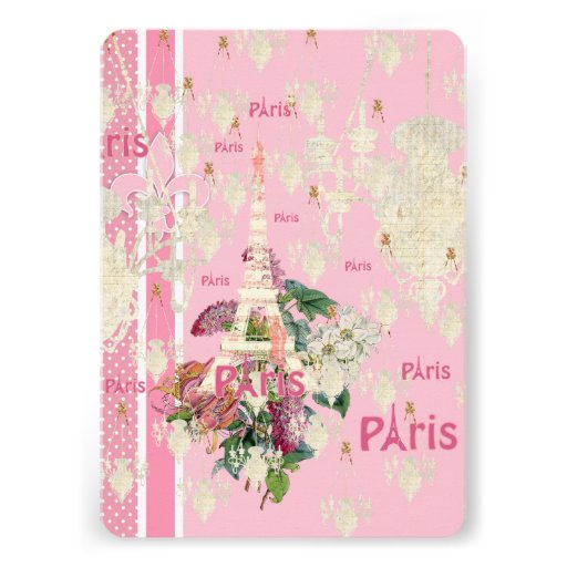 Vintage Elegant Pink Paris Eiffel Tower Chandelier Invites