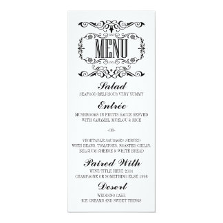 Vintage elegant wedding menu cards