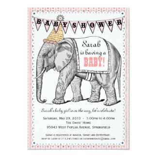 "Vintage Elephant Circus Parade Baby Shower Invite 5"" X 7"" Invitation Card"