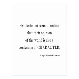 Vintage Emerson Inspirational Character Quote Postcard