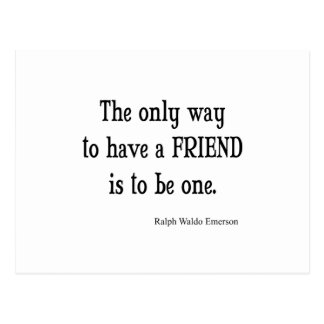 Vintage Emerson Inspirational Friendship Quote Postcard