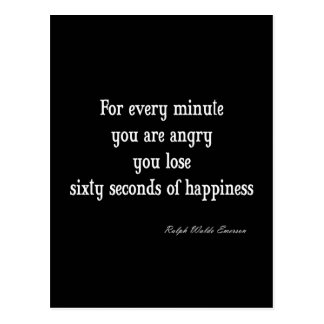 Vintage Emerson Inspirational Happiness Quote Postcard