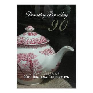 Vintage English Teapot 90th Birthday Invitation