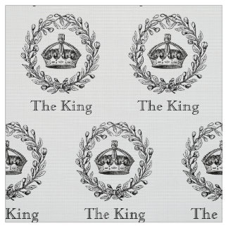 Vintage Engraved King's Crown and Laurel Wreath Fabric