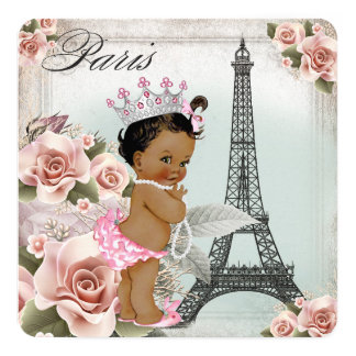 Vintage Ethnic Princess Paris Baby Shower 13 Cm X 13 Cm Square Invitation Card