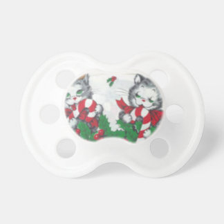 Vintage fabric christmas cats pacifier