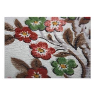 Vintage Fabric Design Flowers Invitation Card
