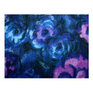 Vintage Fabric in Blues and Purples Post Card