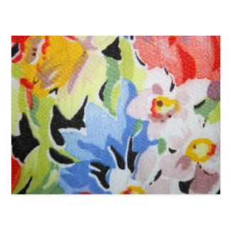 Vintage Fabric in Flower Pattern Post Card