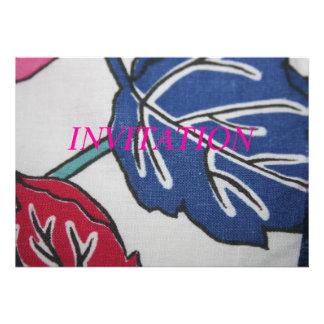 Vintage Fabric Leaf Pattern Invitation