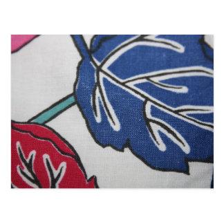 Vintage Fabric Leaf Pattern Post Card
