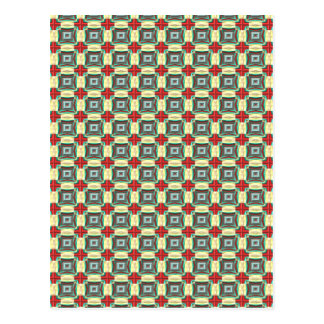 Vintage Fabric Pattern Elegant Red Green Gold Post Cards