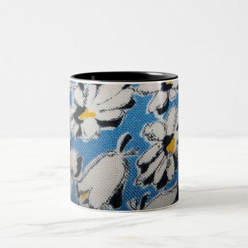 Vintage Fabric White Flowers Mug