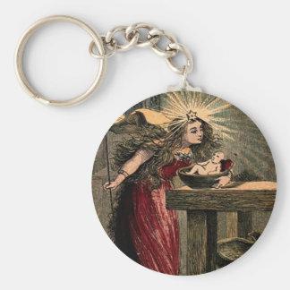 Vintage Fairy Godmother Basic Round Button Key Ring