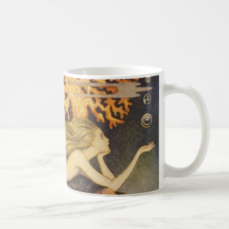 Vintage Fairy Tale, Little Mermaid in Ocean Coral Coffee Mug