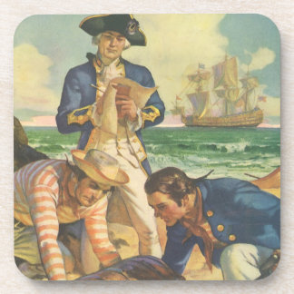 Vintage Fairy Tale Pirates, Treasure Island Beverage Coasters