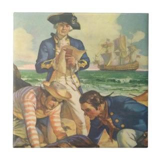 Vintage Fairy Tale Pirates, Treasure Island Tile