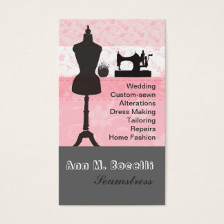 Vintage  Fashion Crafts Girly Pink Floral Sewing Business Card