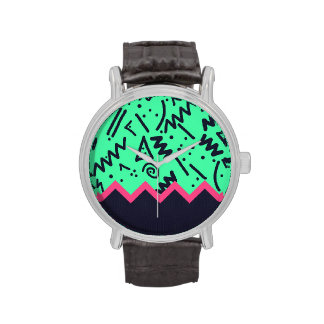 Vintage Fashion Trend Neon Colorful Shapes Pattern Wrist Watch