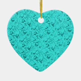 Vintage Feathery Floral Teal Peacock Heart Ornamen Christmas Ornament