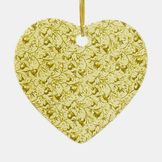 Vintage Feathery Floral Yellow Heart Ornament