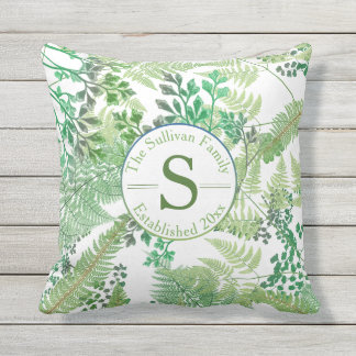 Vintage Ferns | Greenery Family Monogram Throw Pillow
