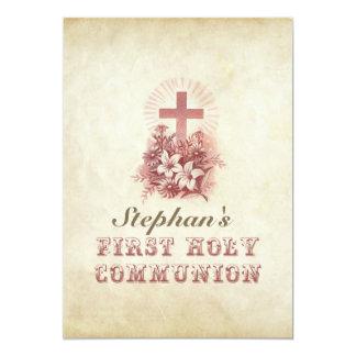 vintage first holy communion custom invitations