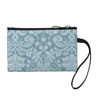 Vintage floral art nouveau blue green aqua pattern coin purse