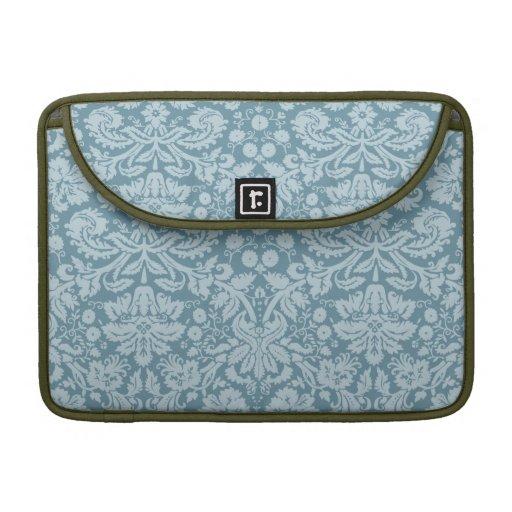 Vintage floral art nouveau blue green aqua pattern MacBook pro sleeve
