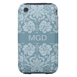 Vintage floral art nouveau blue green monogram tough iPhone 3 covers