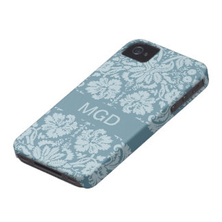 Vintage floral art nouveau blue green monogram Case-Mate iPhone 4 case