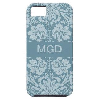 Vintage floral art nouveau blue green monogram iPhone 5 covers