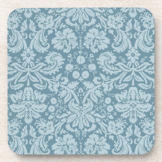 Vintage floral art nouveau blue green pattern drink coasters