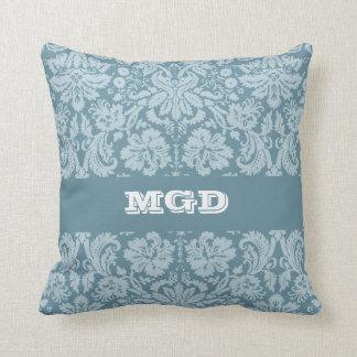 Vintage floral art nouveau blue green pattern cushion