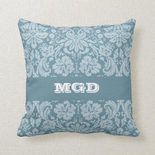 Vintage floral art nouveau blue green pattern pillow