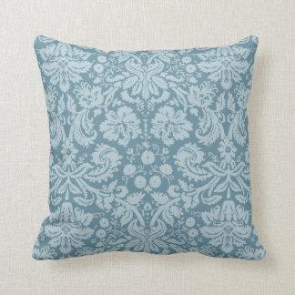 Vintage floral art nouveau blue green pattern throw pillow