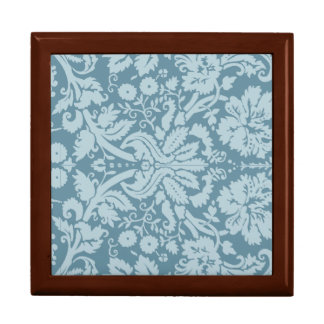 Vintage floral art nouveau blue green pattern large square gift box