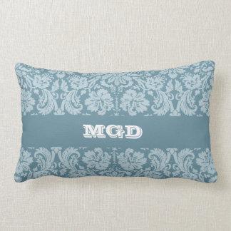 Vintage floral art nouveau blue green pattern lumbar pillow