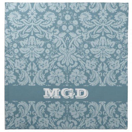 Vintage floral art nouveau blue green pattern napkin