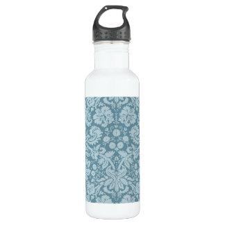 Vintage floral art nouveau blue green pattern 24oz water bottle