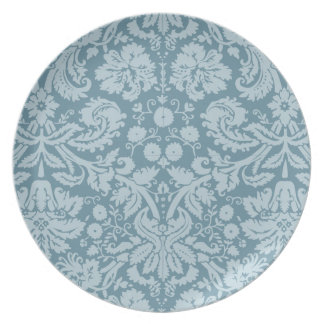 Vintage floral art nouveau blue green pattern party plate