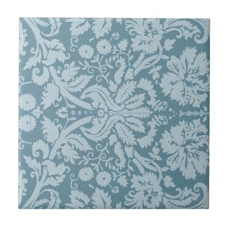 Vintage floral art nouveau blue green pattern small square tile